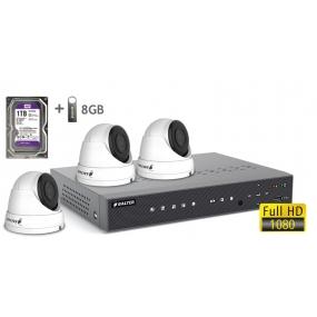 BALTER АHD комплект для видеонаблюдения, 4-кан DVR с 1TB, 4x 2MP купольные камеры с ИК,  4x18m кабель