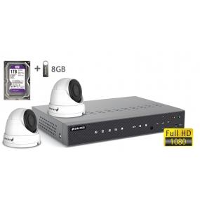 BALTER АHD комплект для видеонаблюдения, 4-кан DVR с 1TB, 2x 2MP наружные камеры с ИК,  2x18m кабель