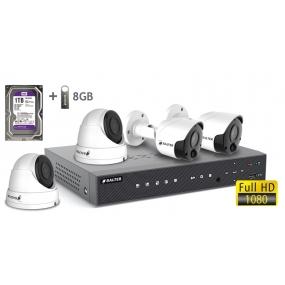 BALTER АHD комплект для видеонаблюдения, 4-кан DVR с 1TB, 4x 2MP наружные камеры с ИК,  4x18m кабель