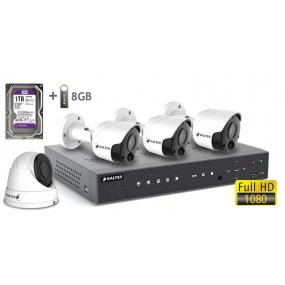 BALTER АHD комплект для видеонаблюдения, 4-кан DVR с 1TB, 4x 2MP камеры с ИК,  4x18m кабель