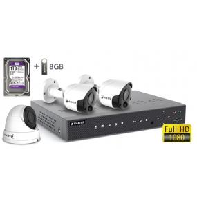BALTER АHD комплект для видеонаблюдения, 4-кан DVR с 1TB, 3x 2MP купольные камеры с ИК,  3x18m кабель