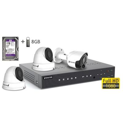 BALTER АHD комплект для видеонаблюдения, 4-кан DVR с 1TB, 3x 2MP камеры с ИК,  3x18m кабель