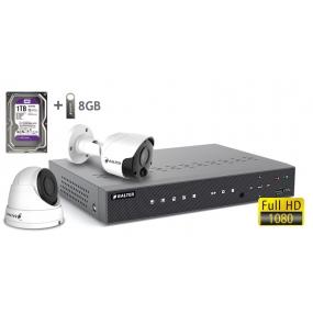 BALTER АHD комплект для видеонаблюдения, 4-кан DVR с 1TB, 2x 2MP камеры с ИК,  2x18m кабель