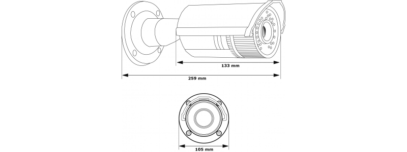 """4MP IP Infrarot Außenkamera, 2.8-12mm, Tag/Nacht, 1/3"""", 2688x1520p, Nachtsicht 30m, WDR, VCA, PoE / 12V DC, IP66"""