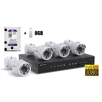 BALTER АHD комплект для видеонаблюдения, 4-кан DVR с 1TB, 4x 1080p наружные камеры с ИК,  4x18m кабель