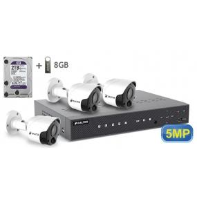 BALTER АHD комплект для видеонаблюдения, 4-кан DVR с 2TB, 3x 5MP наружные камеры с ИК,  4x18m кабель