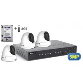 BALTER АHD комплект для видеонаблюдения, 4-кан DVR с 2TB, 4x 5MP купольные камеры с ИК,  4x18m кабель