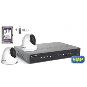 BALTER АHD комплект для видеонаблюдения, 4-кан DVR с 1TB, 2x 5MP купольные камеры с ИК,  2x18m кабель