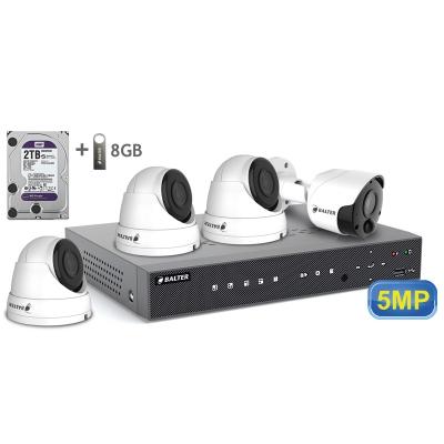 BALTER АHD комплект для видеонаблюдения, 4-кан DVR с 2TB, 4x 5MP камеры с ИК,  4x18m кабель
