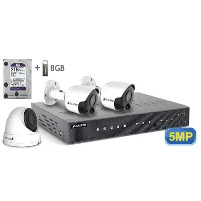 BALTER АHD комплект для видеонаблюдения, 4-кан DVR с 2TB, 3x 5MP купольные камеры с ИК,  3x18m кабель