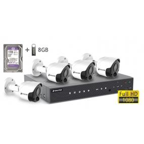 BALTER АHD комплект для видеонаблюдения, 4-кан DVR с 2TB, 4x 5MP наружные камеры с ИК,  4x18m кабель
